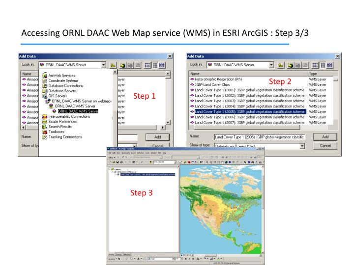 Accessing ORNL DAAC Web Map service (WMS) in ESRI ArcGIS : Step 3/3