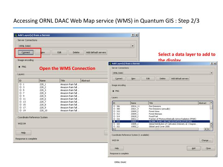 Accessing ORNL DAAC Web Map service (WMS) in Quantum GIS : Step 2/3