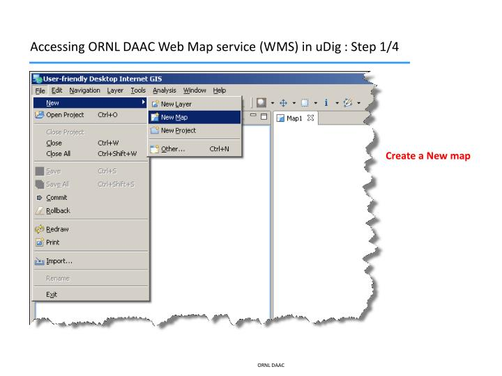 Accessing ORNL DAAC Web Map service (WMS) in uDig : Step 1/4