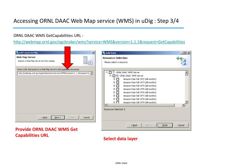 Accessing ORNL DAAC Web Map service (WMS) in uDig : Step 3/4