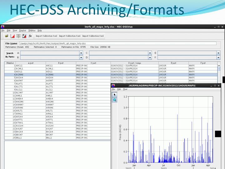 HEC-DSS Archiving/Formats