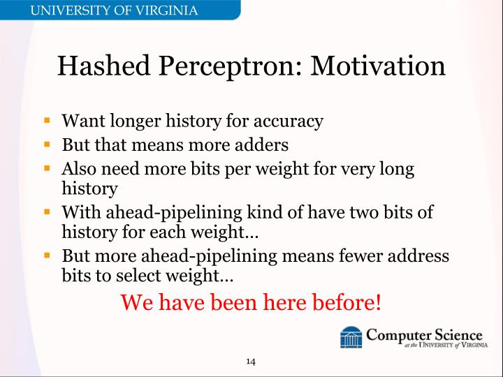 Hashed Perceptron: Motivation