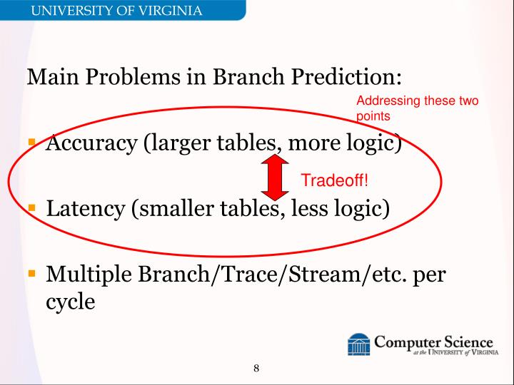 Main Problems in Branch Prediction: