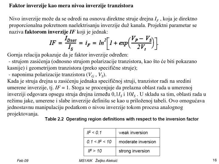 Faktor inverzije kao mera nivoa inverzije tranzistora