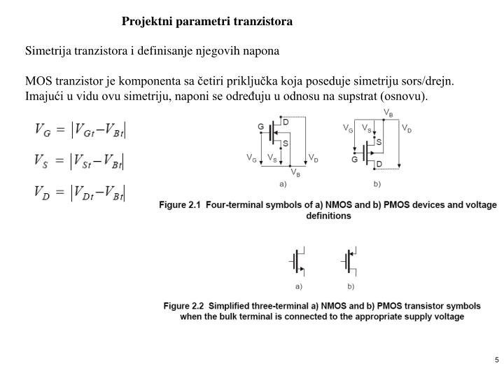 Projektni parametri tranzistora