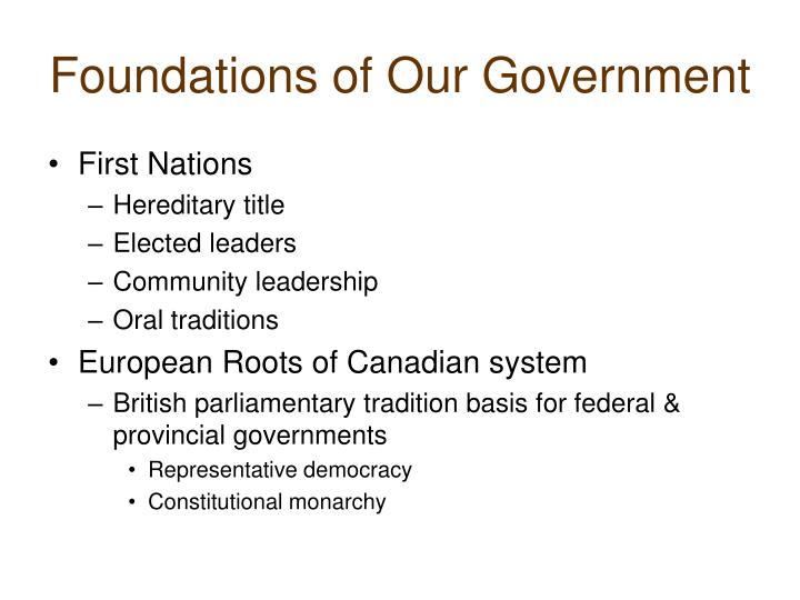 Foundations of our government