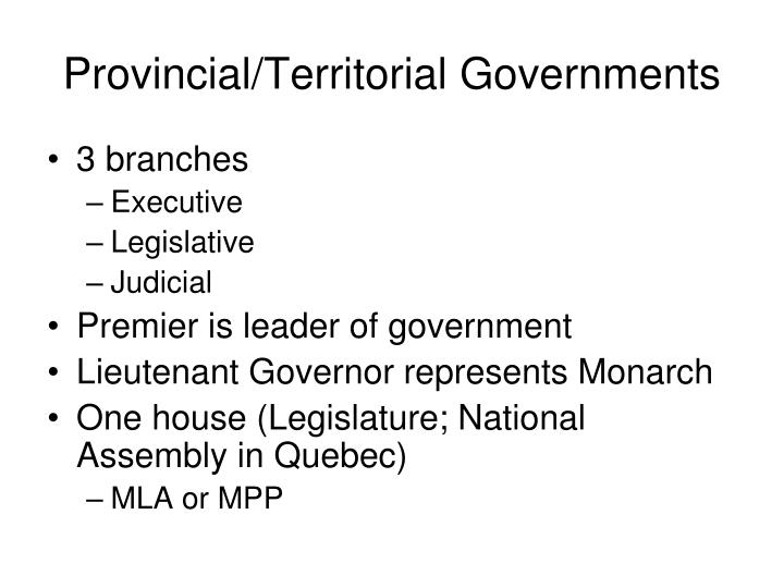 Provincial/Territorial Governments