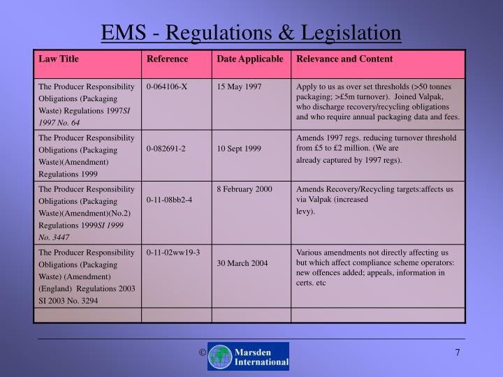 EMS - Regulations & Legislation