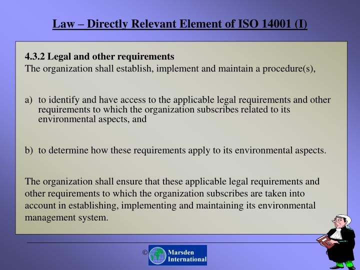 Law – Directly Relevant Element of ISO 14001 (I)
