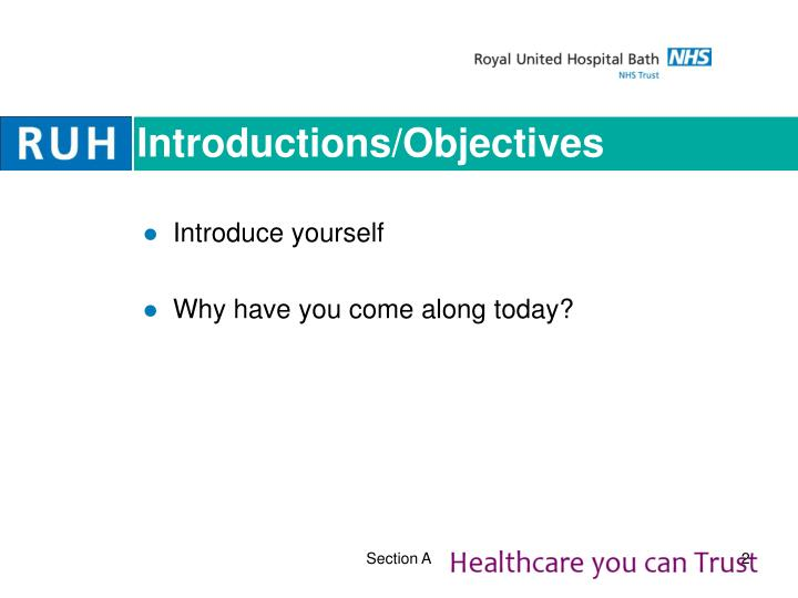 Introductions/Objectives