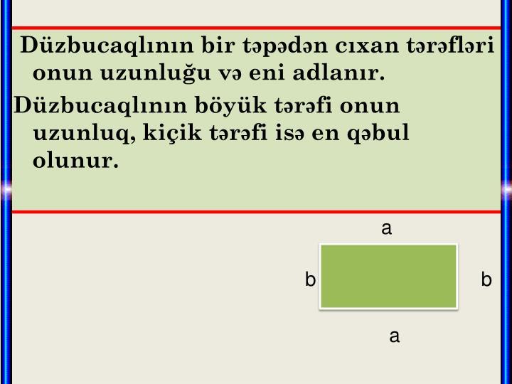 Düzbucaqlının bir təpədən cıxan tərəfləri onun uzunluğu və eni adlanır.