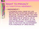 right to privacy u s constitution amendment i