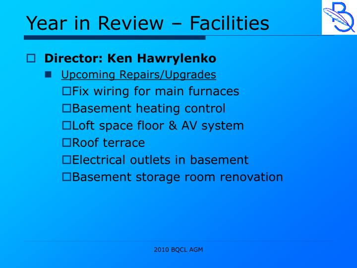 Year in Review – Facilities