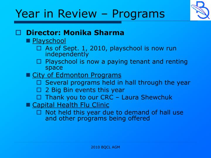 Year in Review – Programs