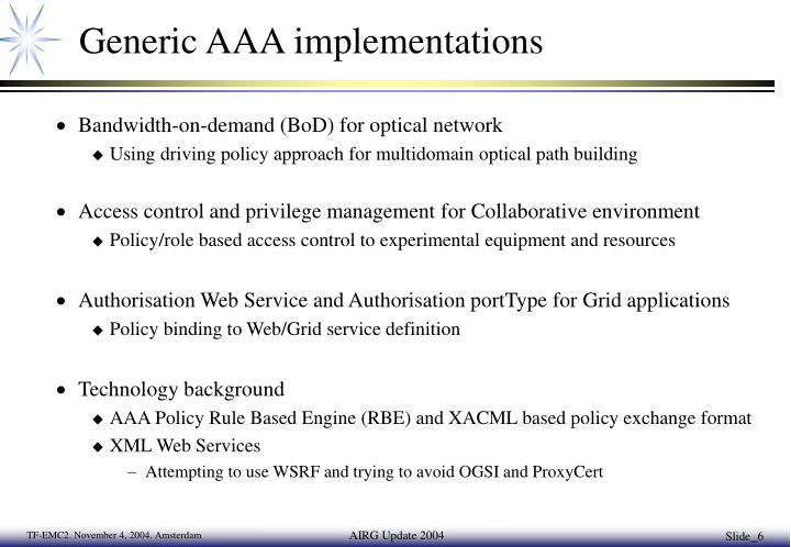 Generic AAA implementations