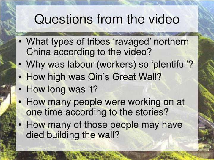 Questions from the video
