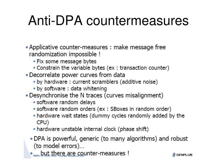 Anti-DPA countermeasures