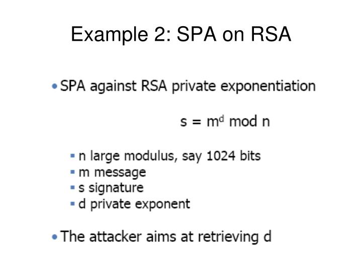 Example 2: SPA on RSA