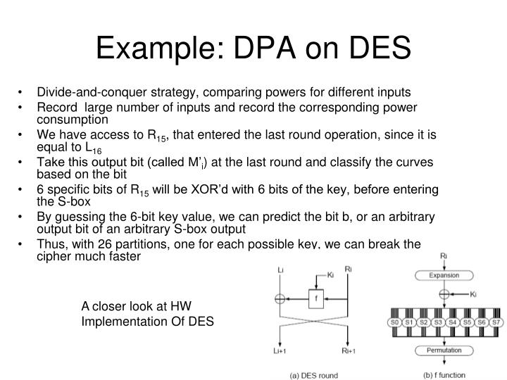 Example: DPA on DES