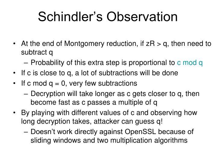 Schindler's Observation