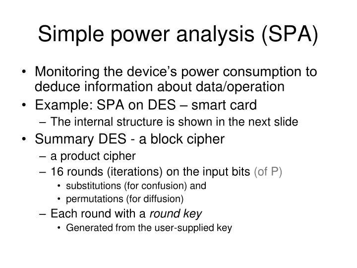 Simple power analysis (SPA)