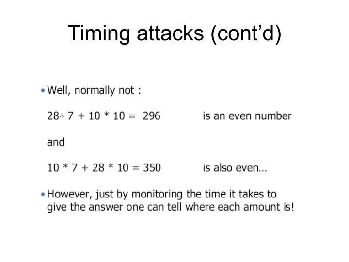 Timing attacks (cont'd)