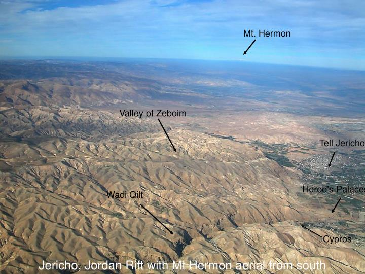 Jericho, Jordan Rift with Mt Hermon aerial from south