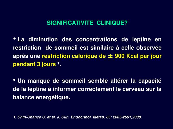 SIGNIFICATIVITE  CLINIQUE?