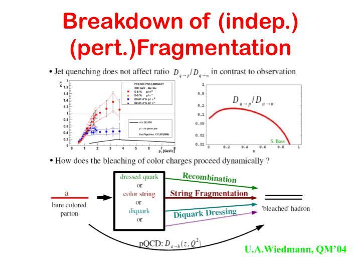 Breakdown of (indep.) (pert.)Fragmentation