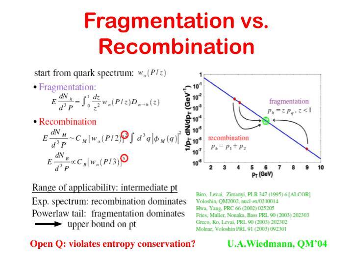 Fragmentation vs. Recombination