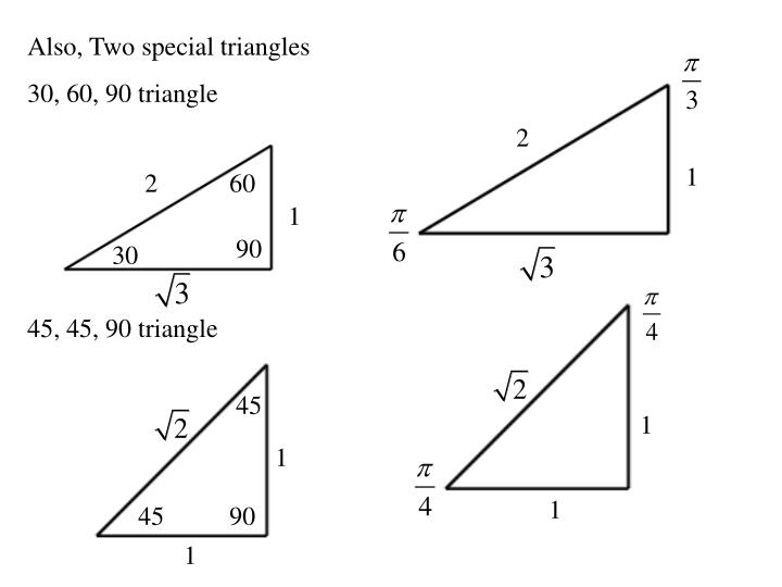 Also, Two special triangles