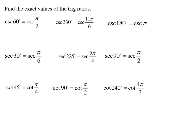 Find the exact values of the trig ratios.