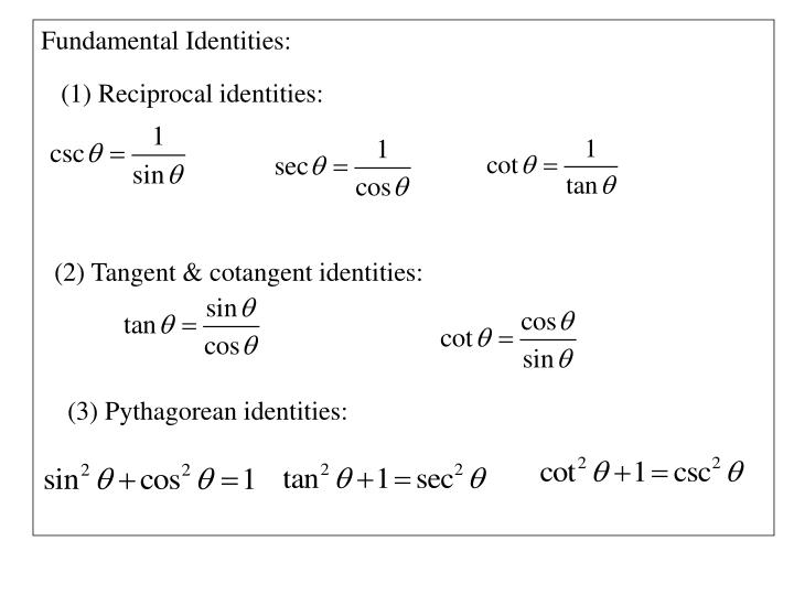 Fundamental Identities: