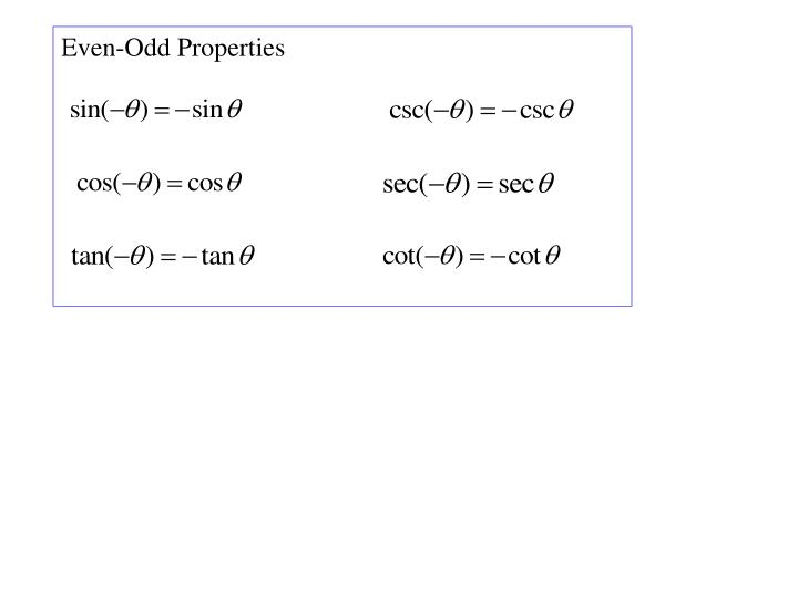 Even-Odd Properties