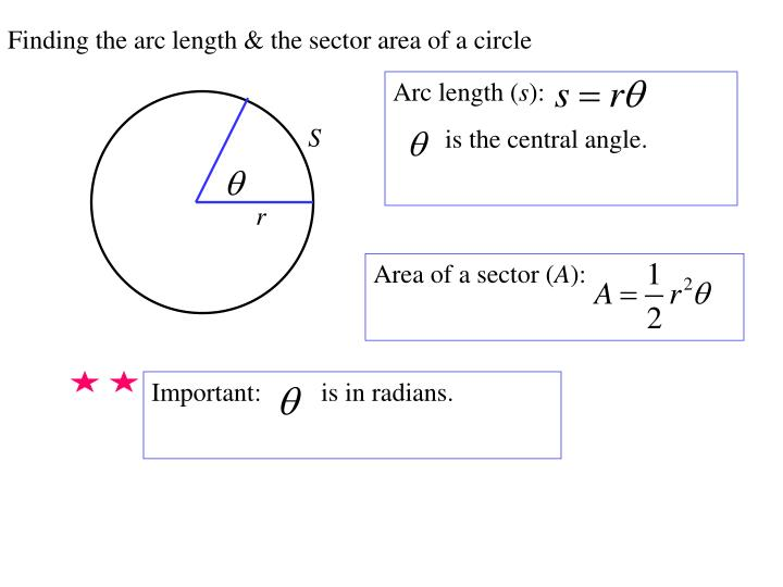 Finding the arc length & the sector area of a circle