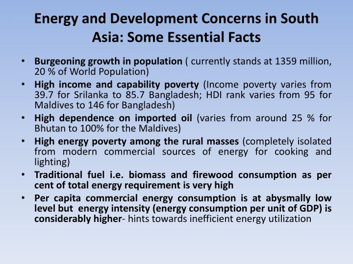 Energy and Development Concerns in South Asia: Some Essential Facts