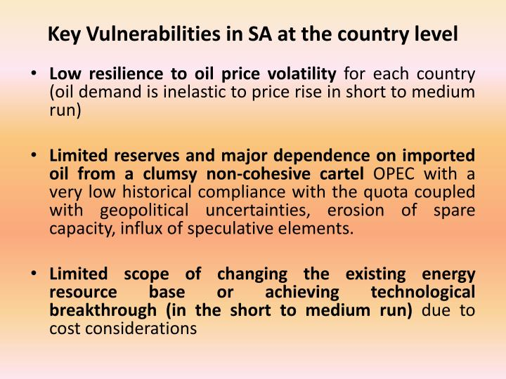 Key vulnerabilities in sa at the country level