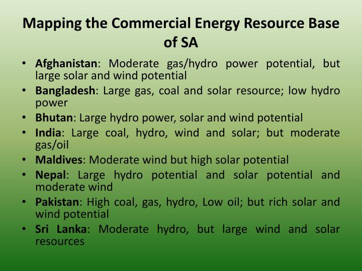 Mapping the Commercial Energy Resource Base of SA