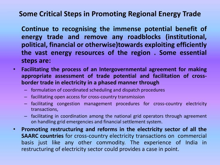 Some Critical Steps in Promoting Regional Energy Trade