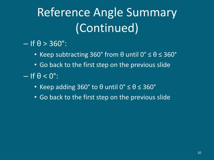 Reference Angle Summary (Continued)