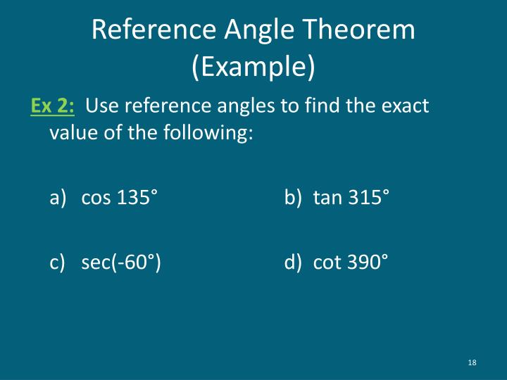 Reference Angle Theorem (Example)