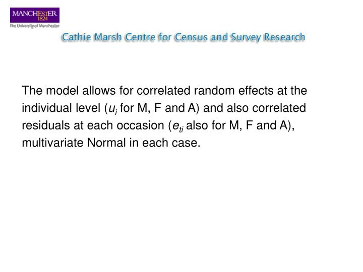 The model allows for correlated random effects at the