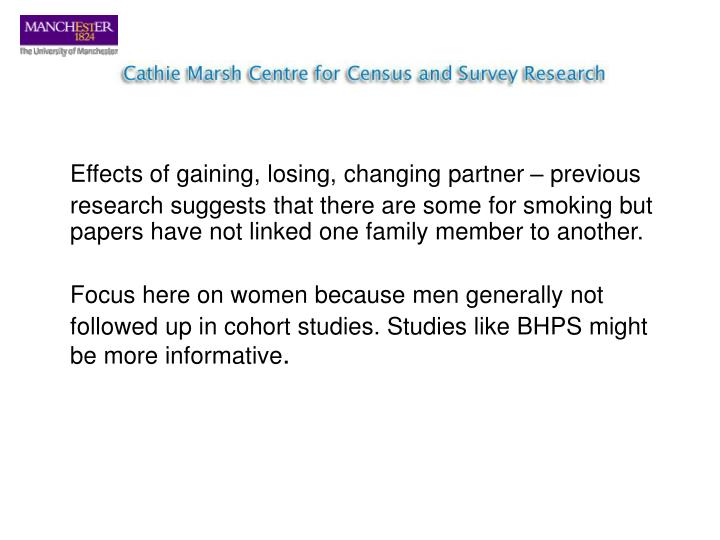 Effects of gaining, losing, changing partner – previous