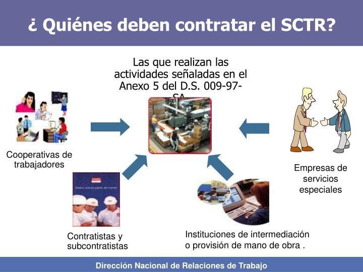 ¿ Quiénes deben contratar el SCTR?