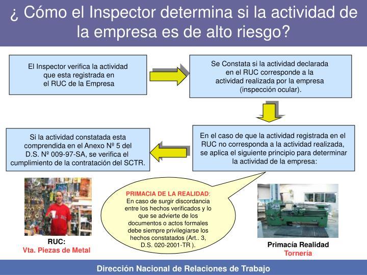 ¿ Cómo el Inspector determina si la actividad de la empresa es de alto riesgo?