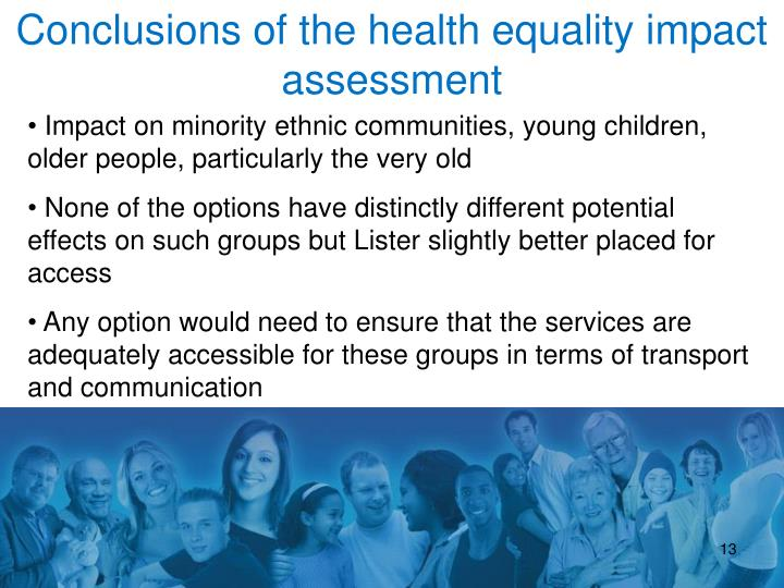 Conclusions of the health equality impact assessment