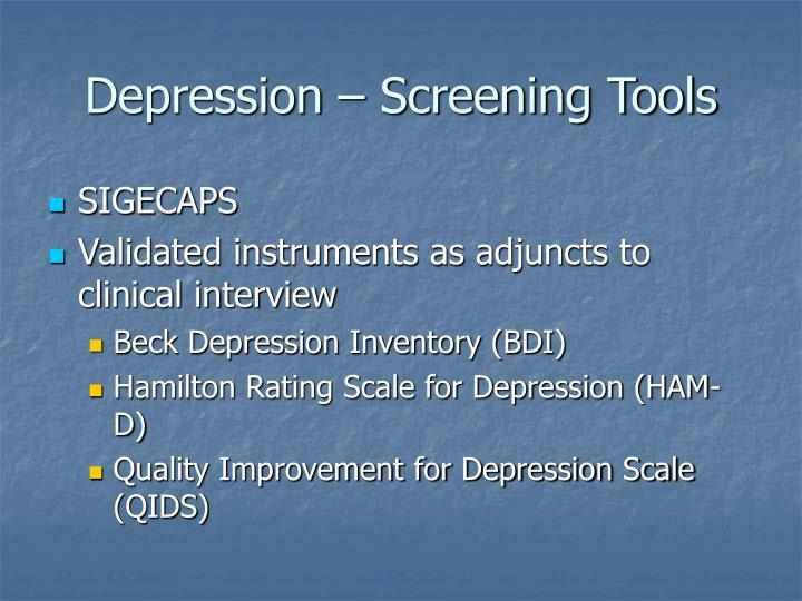 Depression – Screening Tools