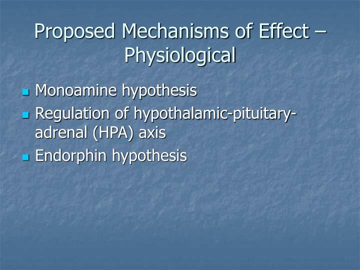 Proposed Mechanisms of Effect – Physiological