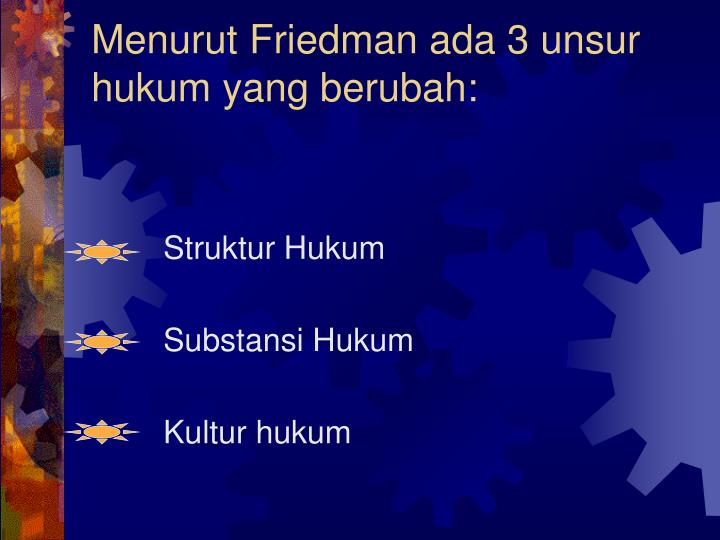 Menurut Friedman ada 3 unsur hukum yang berubah: