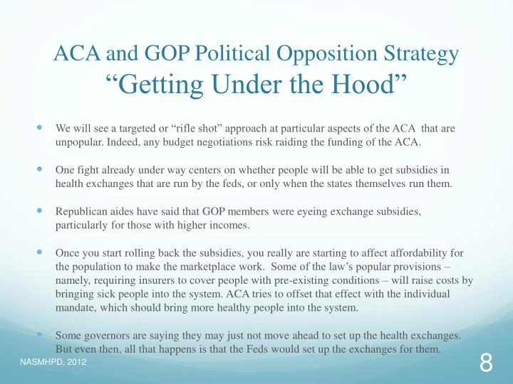 ACA and GOP Political Opposition Strategy